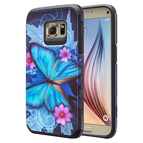 GALAXY WIRELESS for Galaxy S7 Case, Samsung Galaxy S7 Phone Case [Shock Absorption/Impact Resistant] Cute Girl Women Hybrid Dual Layer Defender Protective Case Cover for Galaxy S7, Blue Butterfly