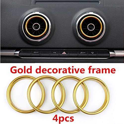 - Fastener & Clip 4pcs/Set Car Chrome Air Conditioning Outlet Decoration Sequin Car Styling for Audi A3 8V Sedan Cabriolet Sportback S3 2013-2016 - (Color Name: Gold)