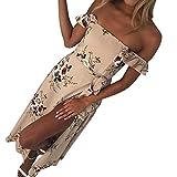 Yang-Yi Clearance, Fashion Summer Boho Chiffon Off Shoulder Beach Dress Women Floral Print Long Strapless Dress (Khaki, US M)