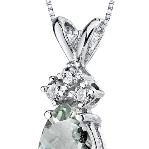 Revoni 14ct or blanc 585/1000 en forme de poire 0.50 Carats Améthyste verte diamant pendentif Collier
