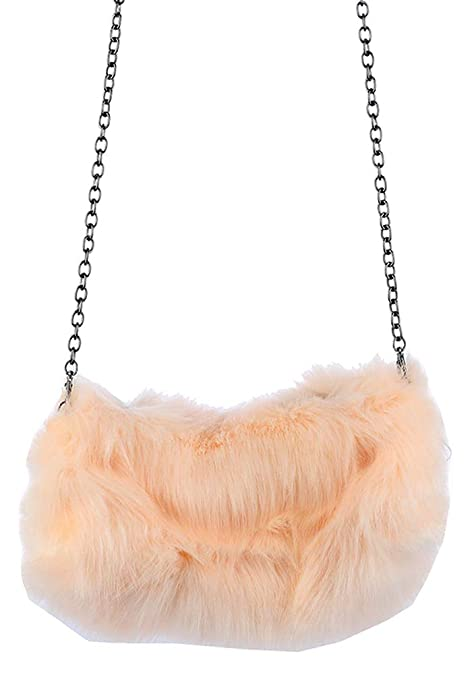 aee12362c931 Image Unavailable. Image not available for. Color  Pink Faux Fur Hand  Warmer Clutch Crossbody Shoulder Handbag ...