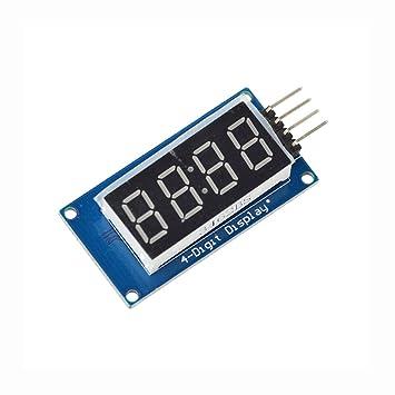 WKELECTRONDE-5PCS TM1637 Módulos de Pantalla LED para Arduino 7 Segmento 4 bits 0.36Inch Reloj Ánodo Rojo Digital Tube Four Serial Driver Board Pack: ...