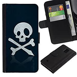Billetera de Cuero Caso Titular de la tarjeta Carcasa Funda para Samsung Galaxy S5 Mini, SM-G800, NOT S5 REGULAR! / Skull Pirate Sign Emblem Art Bones Slogan / STRONG
