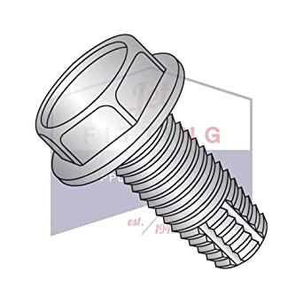 Type F Steel Thread Cutting Screw 5//16-18 Thread Size 1-1//4 Length Serrated Hex Washer Head Pack of 10 Zinc Plated Finish