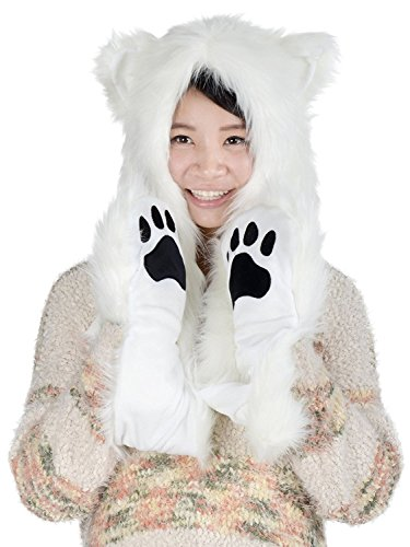 Animal Faux Fur Hood with Zipper Pocket Anime Hat with Warm Scarf Mittens Hats Ears and Paws Spirit Hoodie Hoods (Polar Bear)