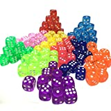 YUTIOR 100 Six Sided(D6) Dice 10 Different Translucent Colors-14MM