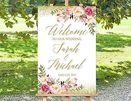 Bair89Pulla Panneau de Bienvenue en Argent Inscription Welcome to Our Wedding Sign Grand Panneau de Bienvenue pour Mariage