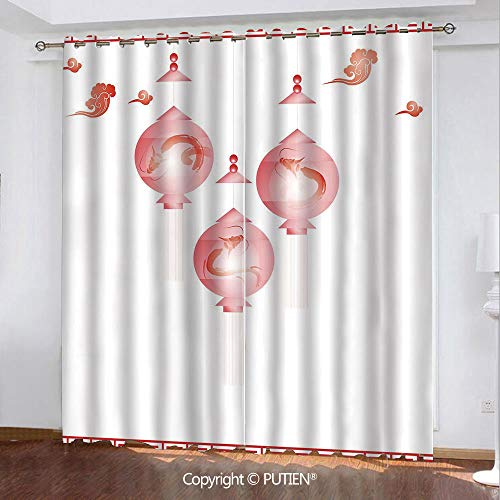 (Satin Grommet Window Curtains Drapes [ Lantern,Traditional Asian Mid Autumn Festival Pattern with Abstract Shapes in Red Coloring Decorative,White Red ] Window Curtain for Living Room Bedroom Dorm Roo)