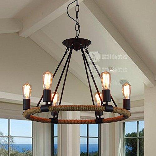 (Leihongthebox rural industries wind retro Edison sisal ring 6 light Pendant Ceiling Lighting ,6246cm)