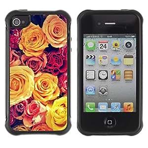 LASTONE PHONE CASE / Suave Silicona Caso Carcasa de Caucho Funda para Apple Iphone 4 / 4S / Vignette Yellow Bouquet Spring Love