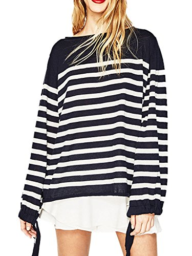 PERSUN Womens Navy Stripes Long Sleeve Tie Cuff Knit Tunic Thin Sweater Top,Large ()