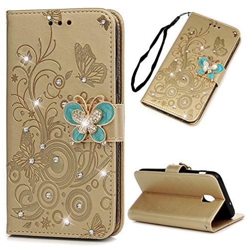 Galaxy J3V J3 V 3rd Gen Case Butterfly Diamonds Wallet Case PU Leather Magnetic Flip Cover Shock Resistant Flexible Soft TPU Protective Bumper Card Slots Kickstand Lanyard for Samsung Galaxy J3 Gold