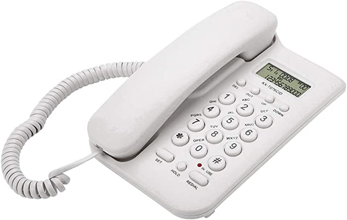 Pomya Corded Telephone, Wired Phone Fixed Desktop Landline Telephone with Caller ID No AC Power Required for Home Hotel Office, etc (White)