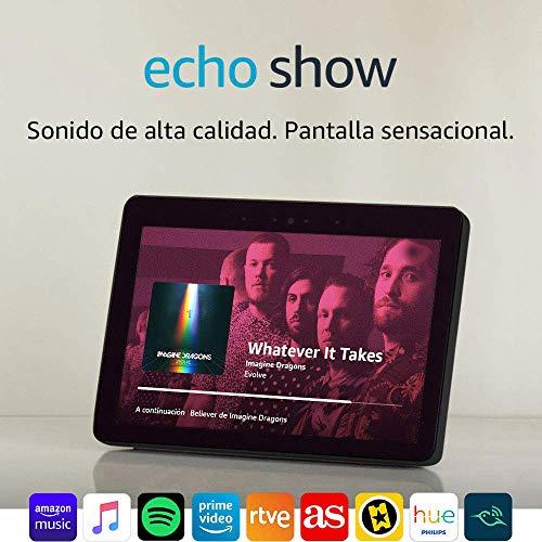 Echo Show (2.ª generación) – Mantén el contacto con la ayuda de Alexa, blanco +Bombilla Philips Hue White LED E27
