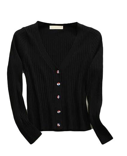 aad2d459c2d Pandapang Womens Casual Rib-Knit Button Up Long Sleeve Sharp ...