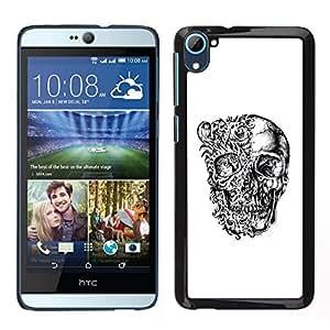 // PHONE CASE GIFT // Duro Estuche protector PC Cáscara Plástico Carcasa Funda Hard Protective Case for HTC Desire D826 / Floral Skull Black White Bones Biker /