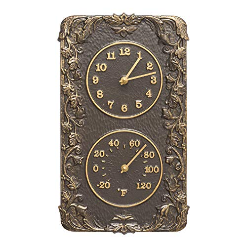 Whitehall Products Acanthus Combo Clock, French Bronze
