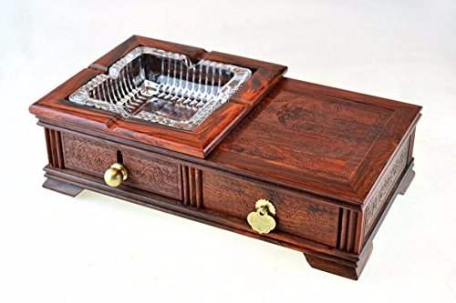 GTVERNHRosewood ashtray, mahogany carved furniture ornaments, high-end fashion creative practical ashtray by GTVERNH (Image #2)