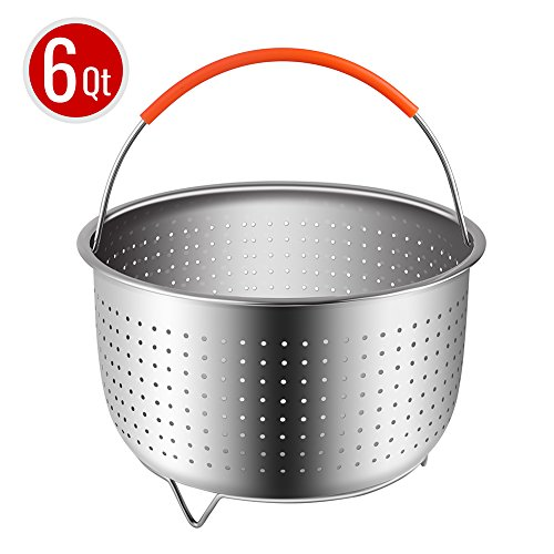 The Original Sturdy Steamer Basket for 6 or 8 Quart Instant Pot Pressure Cooker, 304 Stainless Steel Steamer Insert with Silicone Covered Handle, Great for Steaming Vegetables Fruits Eggs ()