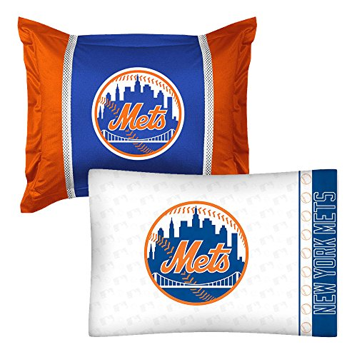 2pc MLB New York Mets Pillowcase and Pillow Sham Set Baseball Team Logo Bedding Accessories New York Mets Sham