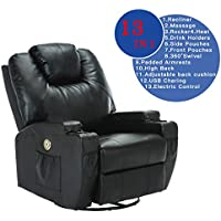 SUNCOO Leather Electric Massage Chair Heated Recliner Sofa with Cup Holder Body Ergonomic 360 Degree Swivel (Black-13 IN 1)