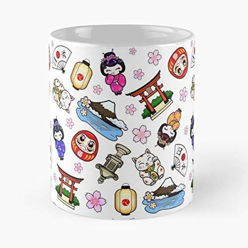 - Nihon Nippon Maneki Neko Cat - Coffee Mugs Unique Ceramic Novelty Cup For Holiday Days 11 Oz.