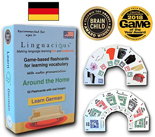 Linguacious Award-Winning Around The Home German Flashcard Game - with Audio!