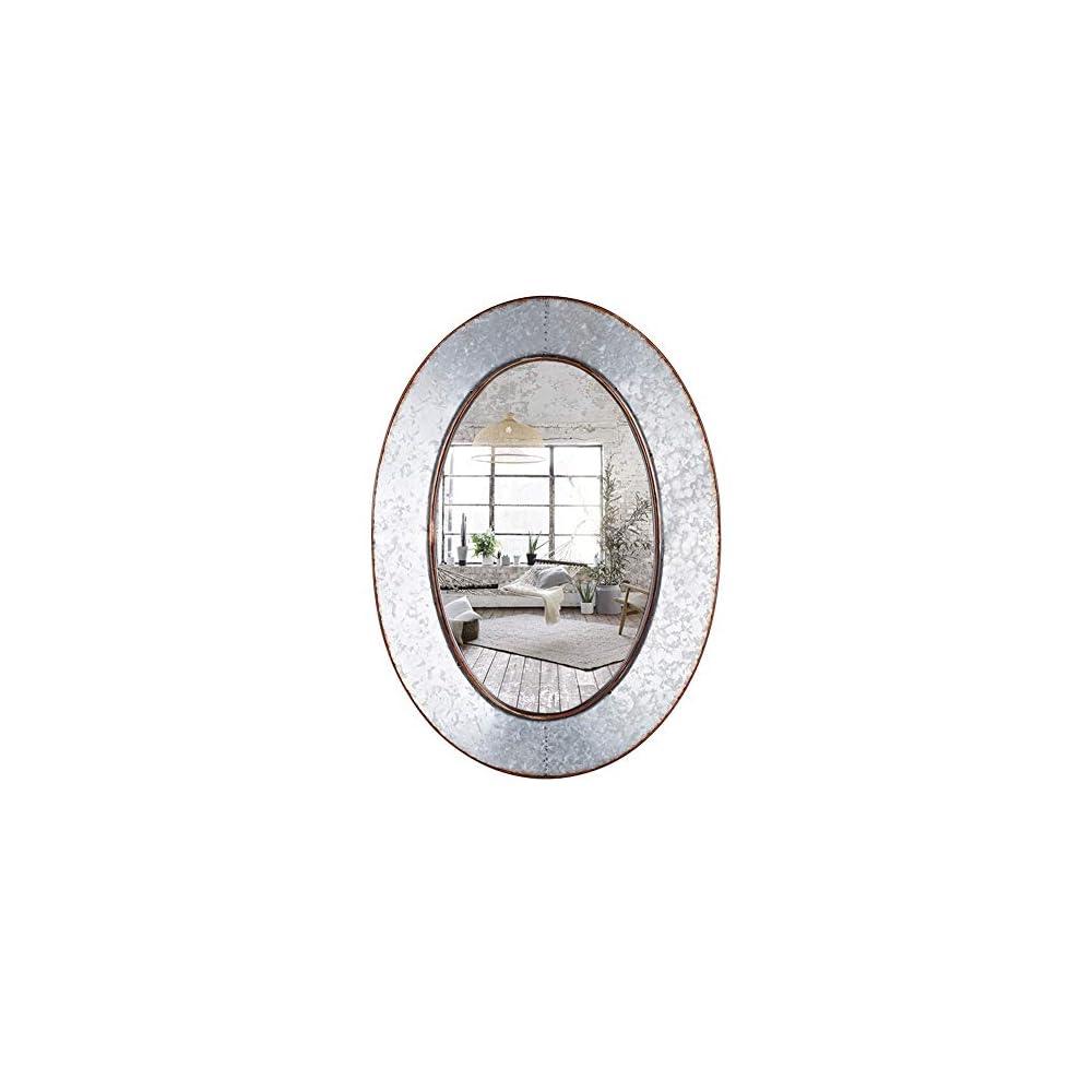 Geloo Bathroom Mirrors Industrial Galvanized-28 Inch Oval Wall Mirror,Gray Farmhouse Decor Mirrors Wall Mounted,Vanity…