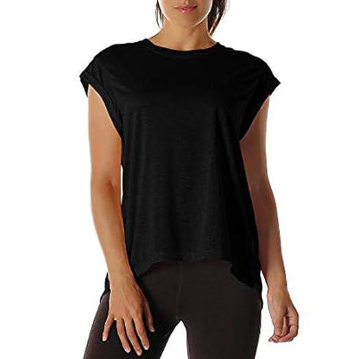 db12e398b17 Rockia T-Shirts for Women Tops Short Sleeve Tunic Open Back Cut Out Basic  Blouse