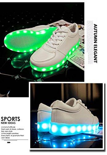 Modelos de pareja, Tefamore Zapatos de LED USB de carga de iluminación hasta zapatos de resplandor Zapatillas de moda intermitente Luminous blanco