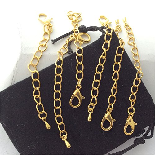 - Necklace Extender Chains, Set of 6, Gold plated, 12mm lobster clasp, waterdrop charm