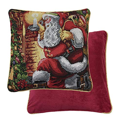 (FATHER CHRISTMAS SANTA PRESENTS WOVEN TAPESTRY RED THROW PILLOW SCATTER SHAM CUSHION COVER 18