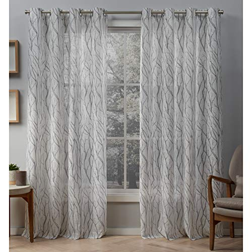 Exclusive Home Curtains Oakdale Motif Textured Linen Window Curtain Panel Pair with Grommet Top, 54x84, Dove Grey, 2 Piece