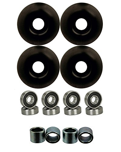 52mm Wheels w/ Bearings & Spacers (Black) 52 Mm Wheels