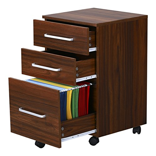 abinet with Wheels by DEVAISE(Walnut) (2 Drawer Mdf File Cabinet)