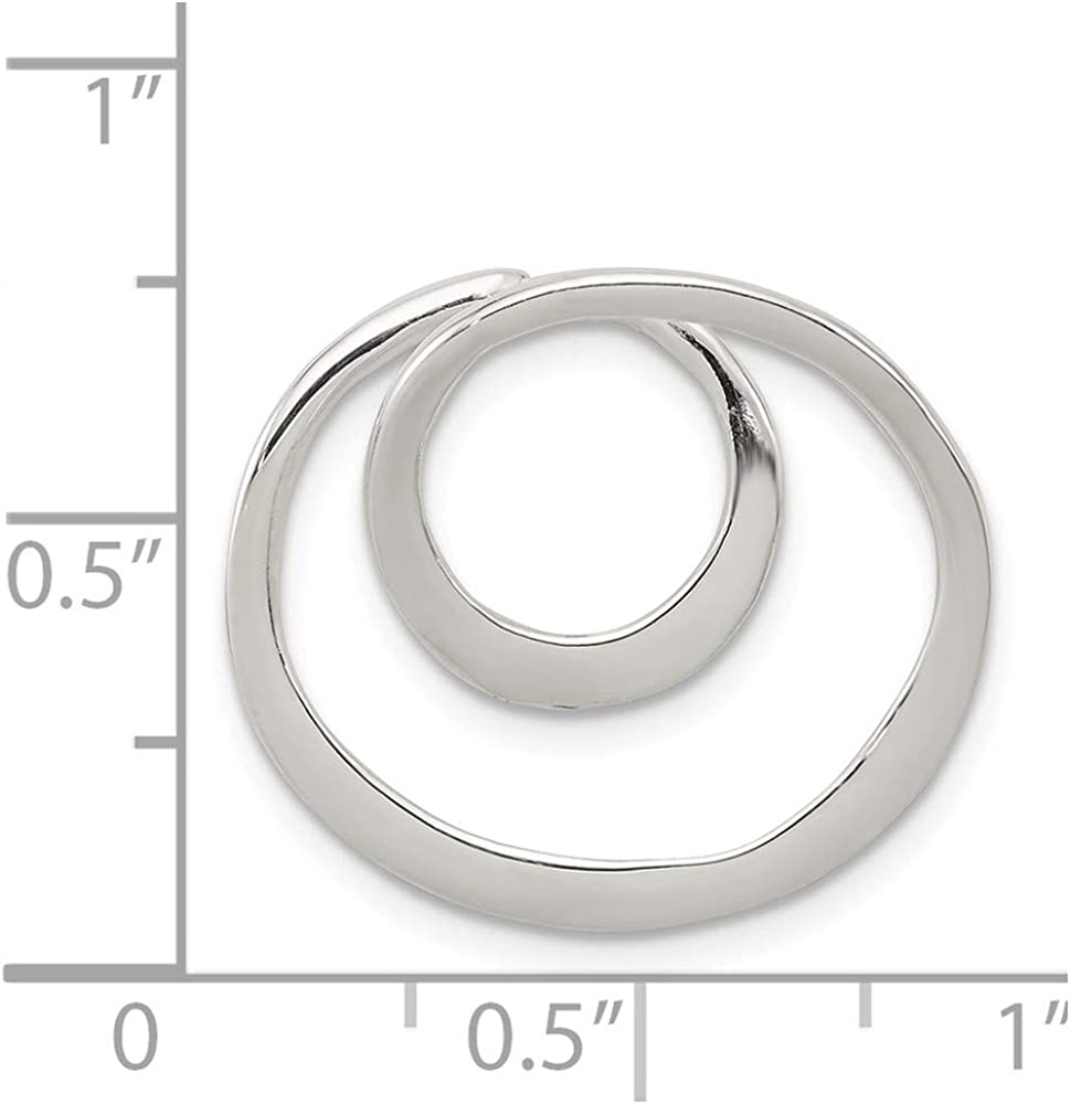 Solid 925 Sterling Silver Geometric Circle Pendant Charm 22mm x 20mm