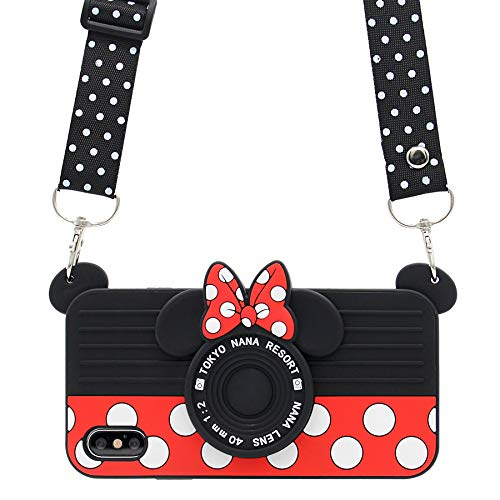 iPhone X Case, MC Fashion Cute 3D Polka Dots Minnie Mouse Camera Case for Teens Girls Women, Shockproof and Protective Soft Silicone Phone Case for Apple iPhone X (2017) Release