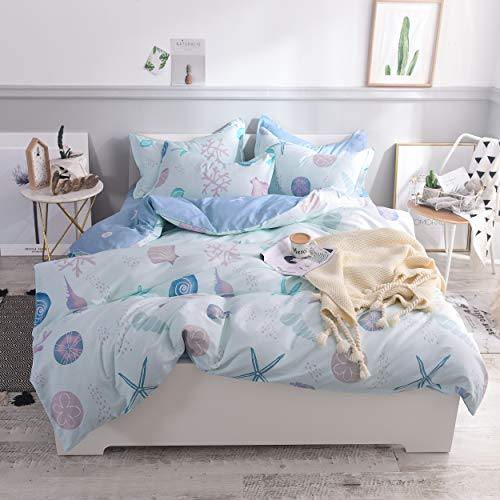 FADFAY Duvet Cover Set Queen Nautical Coastal Beachy Bedding 100% High Qualtiy Cotton Super Soft Hypoallergenic with Hidden Zipper Closure 3 Pieces Queen Size (Bedding Life Coastal)