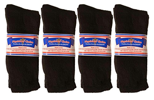 USA Made Physician's Choice Diabetic Crew Socks – 12 Pair 10-13 Black
