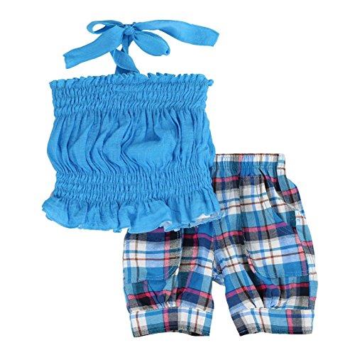 LELEFORKIDS Toddlers and Girls 'Fun Under The Sun' Halter Plaid Capri Set | Blair Barnett's Blissful Blue - Capri Halter Set