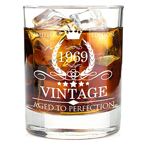 1969 50th Birthday Gifts for Men and Women Premium Whiskey Glasses - Vintage Funny 50 Years Gifts Ideas for Dad, Mom, Husband, Wife - Anniversary Gift, Party Favors, Decorations for Him or Her - 11oz -