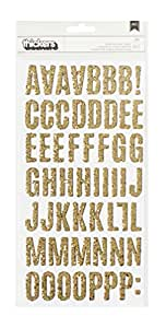 American Crafts 107 Piece Jen Hadfield DIY Home Chunky Glitter Thickers, Gold