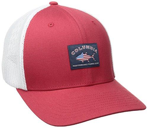 Columbia PFG Mesh Ball Cap, Sunset Red Bass Flag, - Red Hat Flag