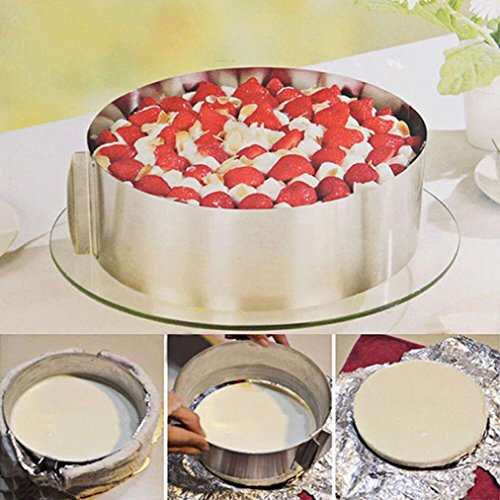 Adjustable Circle Cake Mold 6-12'' Stainless Steel Cake Mousse Round Baking,Non-Stick Baking Pastry Tools, Resistant Low and High Temperature, Easy to Use and Clean Gessppo by Gessppo_Cake Mold