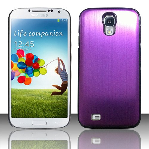 Warrior Wireless (TM) For Samsung Galaxy S4 i9500 - Aluminum Back Cover - Purple AL + Bundle = (ITEM + CELLPHONE STAND) - By TheTargetBuys