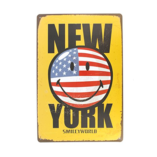 [12x8 Inches Pub,bar,home Wall Decor Souvenir Hanging Metal Tin Sign Plate Plaque (NEW YORK SMILE)] (Halloween Decorations New York)