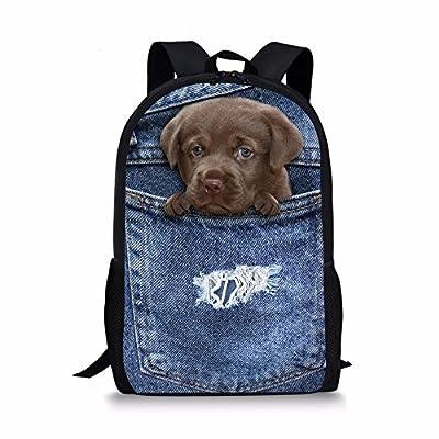 well-wreapped CHAQLIN Cute Denim Blue Backpack Jean Pet Cat Dog Children  School Book Bags d7821a1e38