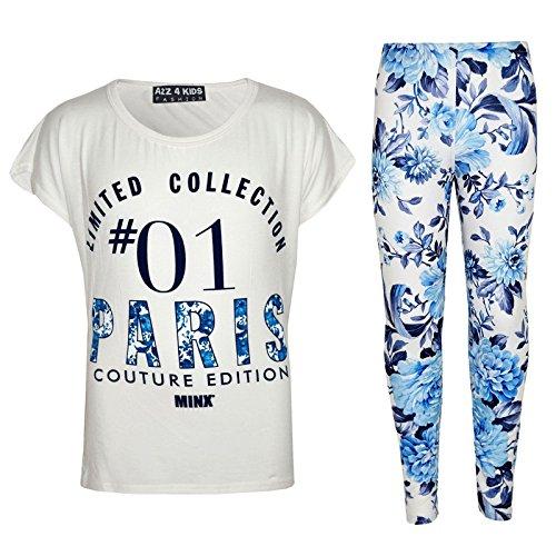 Set Paris Floral 4 Blanc 8 9 Filles Élégant Mode Ans Legging Imprimér Kids 11 10 Enfants Âge 12 A2z amp; Top 7 13 Branché q7wBCxxI