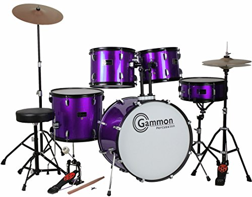 Purple 5 Piece Drum Set with Cymbals Stands Hardware Stool and Sticks Full Adult Size Complete
