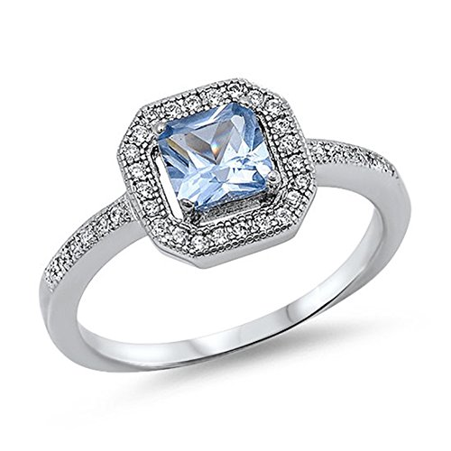 Halo Wedding Engagement Ring Princess Cut Square Simulated Blue Aquamarine Round CZ 925 Sterling Silver